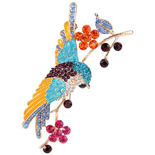 EVER FAITH Austrian Crystal Art Deco Parrot with Floral Leaf Brooch Purple w/ Green Gold-Tone | MyPointSaver
