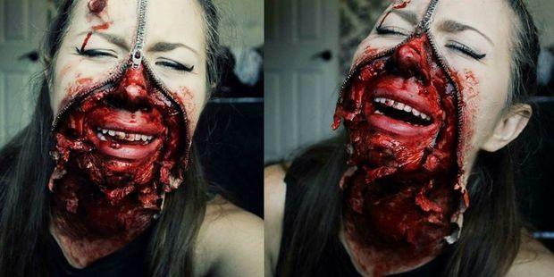 Picture of Zipper Face Halloween Makeup Tutorial
