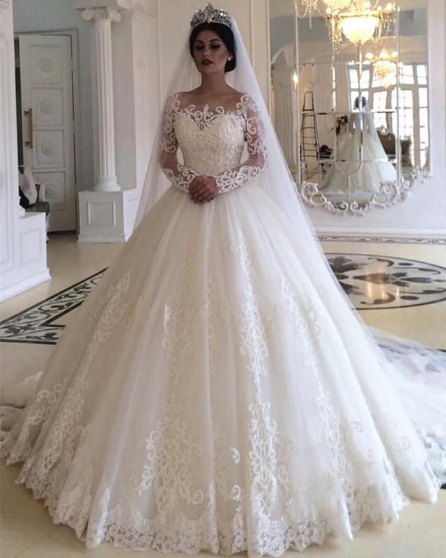 Princess Style Long Sleeves Lace Wedding Dresses Long Sleeve Wedding Dress Lace Wedding Dresses Lace Ball Gowns Wedding