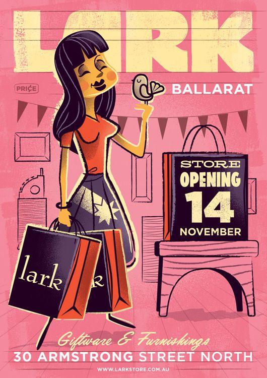 Lark Store opening in Ballarat / poster illustration by Travis Price