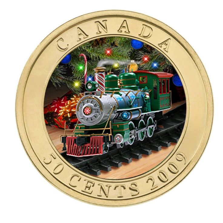 50 cents Canada 2009. Holiday Toy Train - Lenticular Coin
