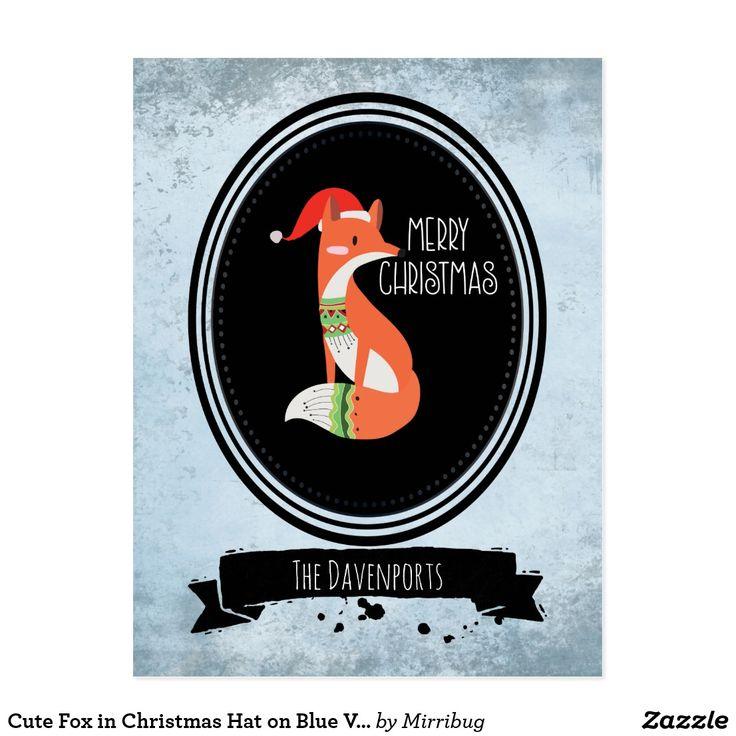 Cute Fox in Christmas Hat on Blue Vintage Backdrop Postcard