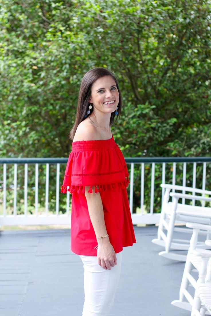 what to wear for the fourth of july, festive for the fourth, striped earrings, red off the shoulder top