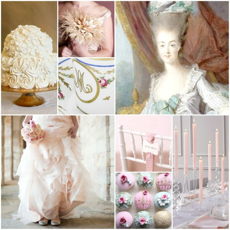 A romantic Marie Antoinette inspired wedding inspiration board.