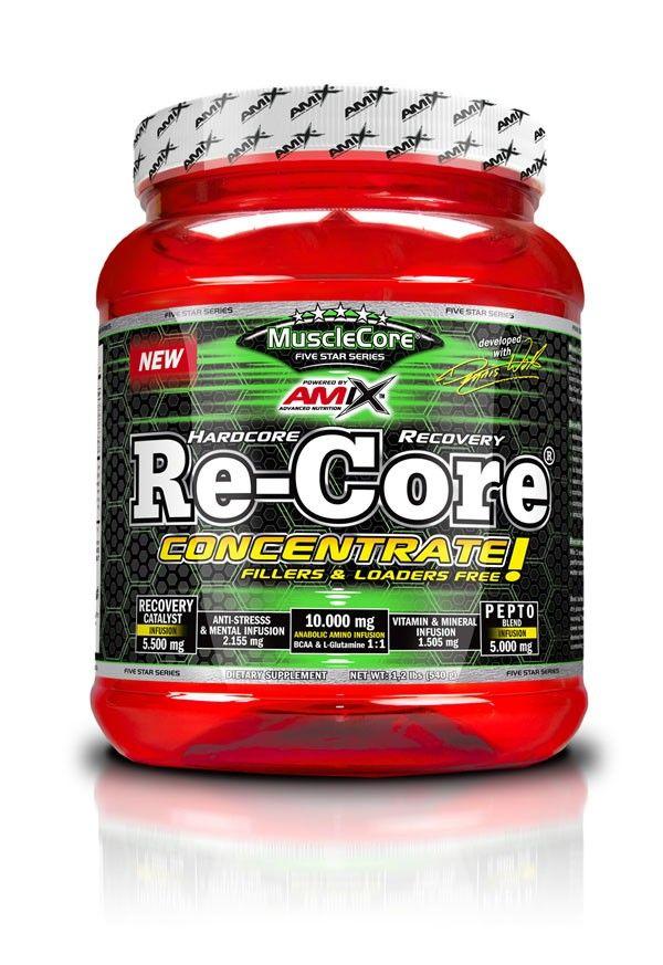 Re-Core® Concentrated Speciální směs větvených aminokyselin v kombinaci se syrovátkovým proteinovým izolátem obsahuje L-leucin, L-isoleucin a L-valin v poměru 8:1:1 ve prospěch L-Leucinu.