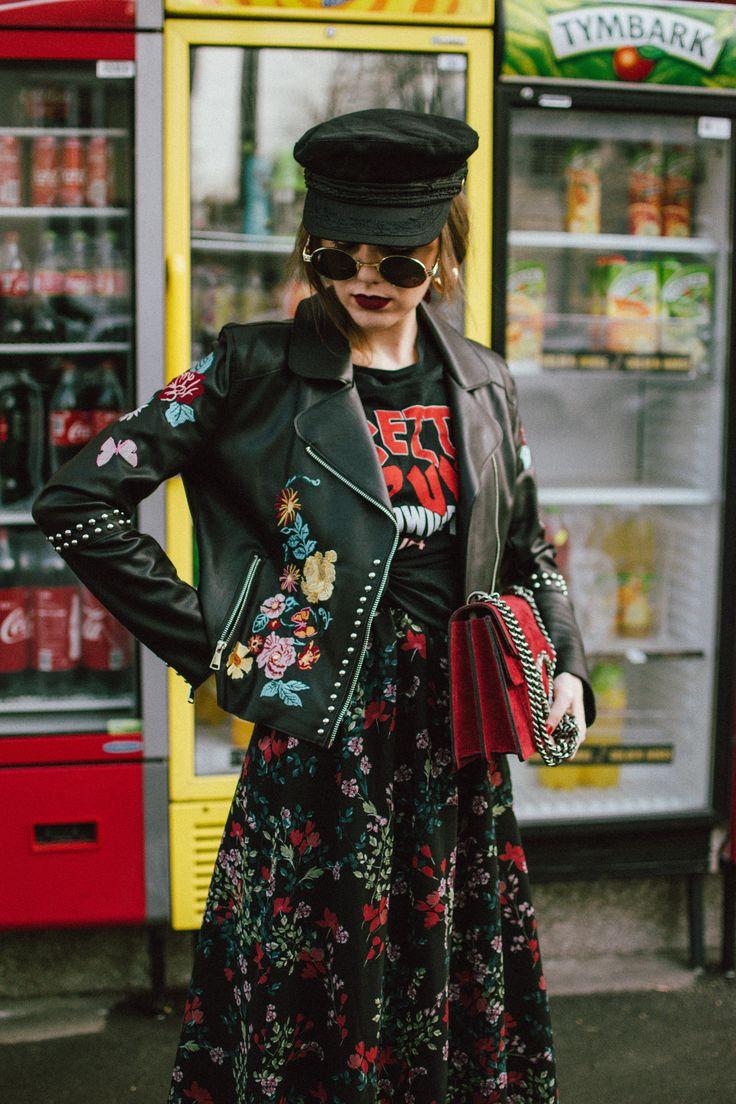 How to mix floral prints: biker jacket and midi dress