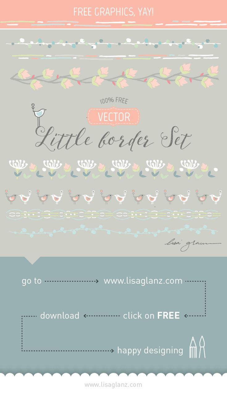 FREE Whimsical hand drawn border set. Just step and repeat to desired length! https://lisaglanz.com
