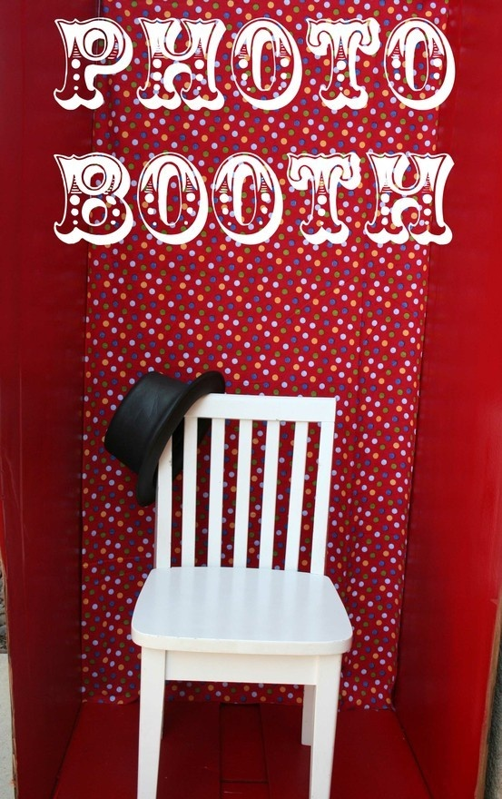 A simple idea for a photo booth, old fridge box, painted with the addition of some simple props... such fun!