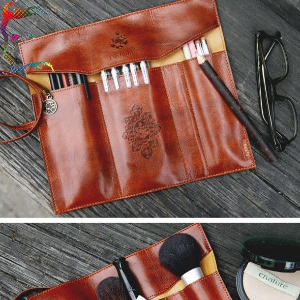Stationery holder 12pcs/lot fashion Brown PU Leather 3 layer folding storage bag pen pencil makeup tool roll bag pouch wholesale