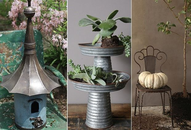 OUTDOOR DECOR  From yards and terraces to porches and patios, Antique Farmhouse has some design ideas that will be sure to inspire the green thumb in you. From shabby chic to Victorian charm, we have some glorious decorating ideas.  A Large Metal Victorian Bird house will delight your feathered friends (and un-feathered friends too!). The simple Rabbit Statue with Leaf Bird Bath is perfect indoors or outdoors. Our Round Galvanized Metal Pedestals will display your houseplants beautifully.