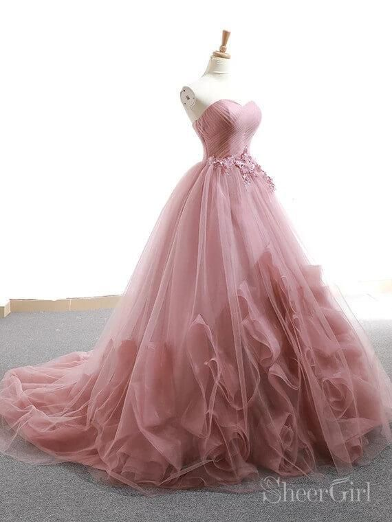 da39f199ad6 Silhouette Ball Gown 2.Fabric Tulle Organza 3.Embellishment Pleated Ruffled Lace  Applique 4.Neckline Sweetheart Neck 5.Sleeve Strapless 6.