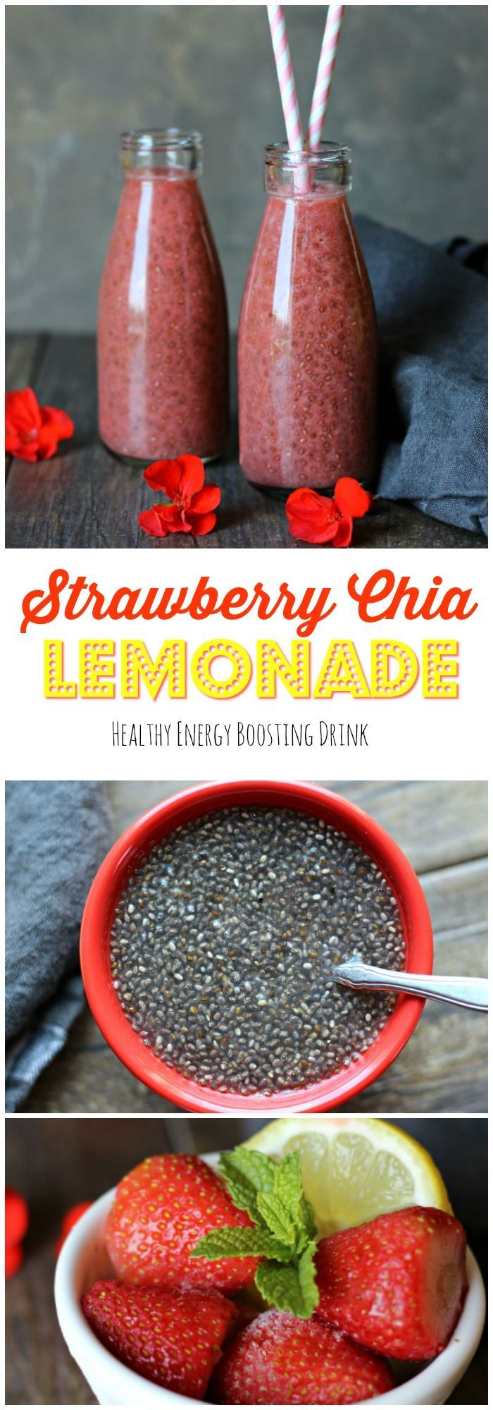 This invigorating Strawberry Chia Lemonade is a delicious healthy and energy boosting drink. A must try! gardeninthekitche...