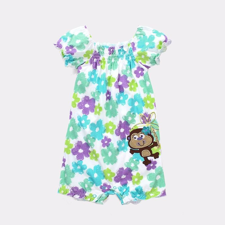>> Click to Buy << Flower Baby Clothes Rompers Girls Dresses Monkey Embroidery Logo Jumping Beans Infant Jumpsuits Short Sleeve Shirts #Affiliate