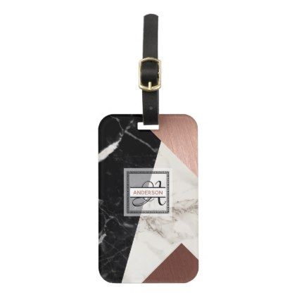 Monogrammed Luggage Tag Marble Rose Gold Geometric - party gifts gift ideas diy customize