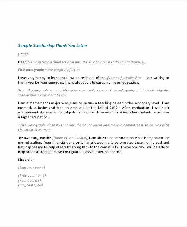 Scholarship Thank You Letter Template Fresh Sample Scholarship Acceptance Letter 6 Docu Thank You Letter Examples Scholarship Thank You Letter Thank You Letter