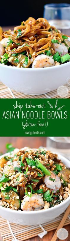 Asian Noodle Bowls are quick, tasty and will satisfy your craving for takeout in 30 minutes or less! #glutenfree   iowagirleats.com