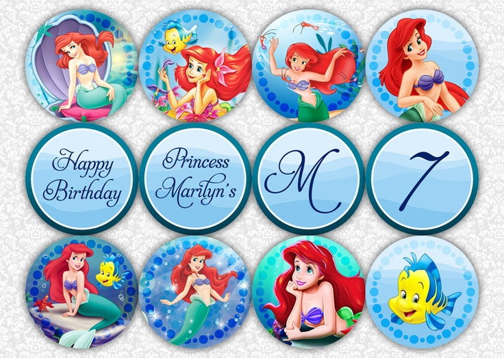Little Mermaid Cupcake Toppers by PrintSparkle on Etsy, $3.50