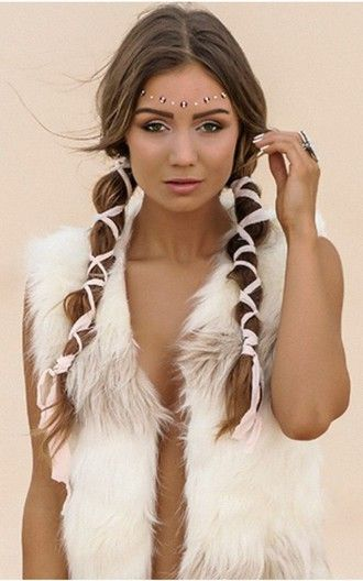 coat white vest vest burning man burning man clothing fur vest hairstyles…