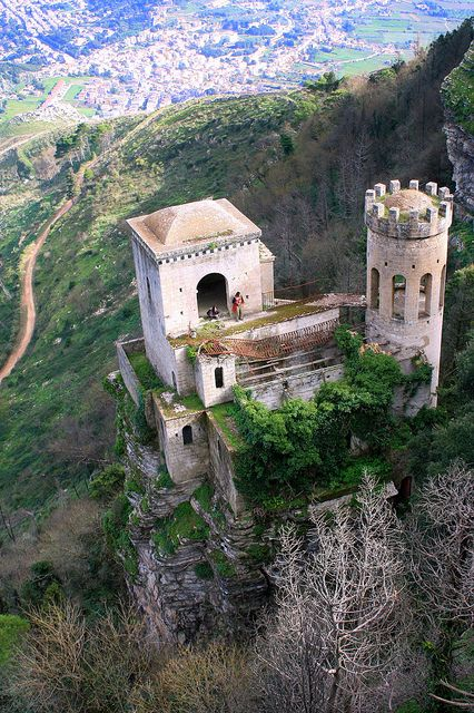 From the top of little town Erice, Sicily >>> so cute!