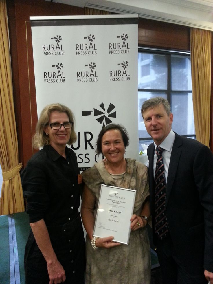 Proud to win Social Media category of Excellence in Rural Journalism Awards run by the Rural Press Club for Sew it Again - photo with Edwina Close and Brendan Egan