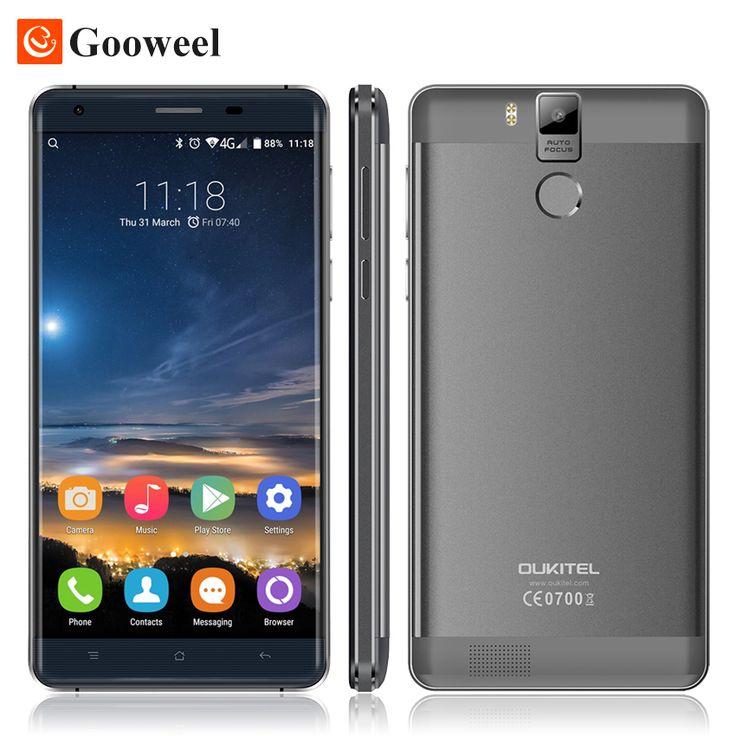 """Asli k6000 oukitel pro 5.5 """"16MP FHD MTK6753 Octa Inti Android 6.0 Ponsel Ponsel 3 GB + 32 GB 4G LTE Smartphone Sidik Jari"""