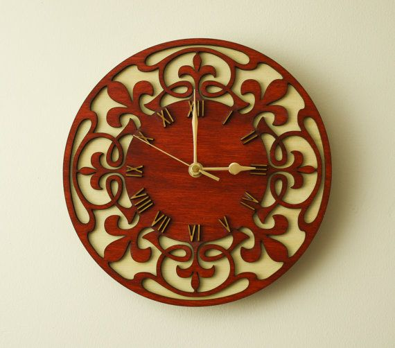 Wooden wall clock. by SVLaser on Etsy