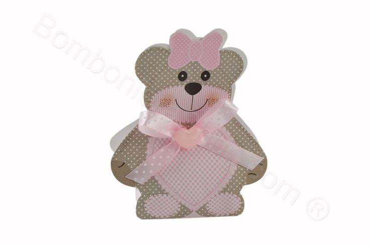 Scatolina orsetta rosa pois bianchi confezionata