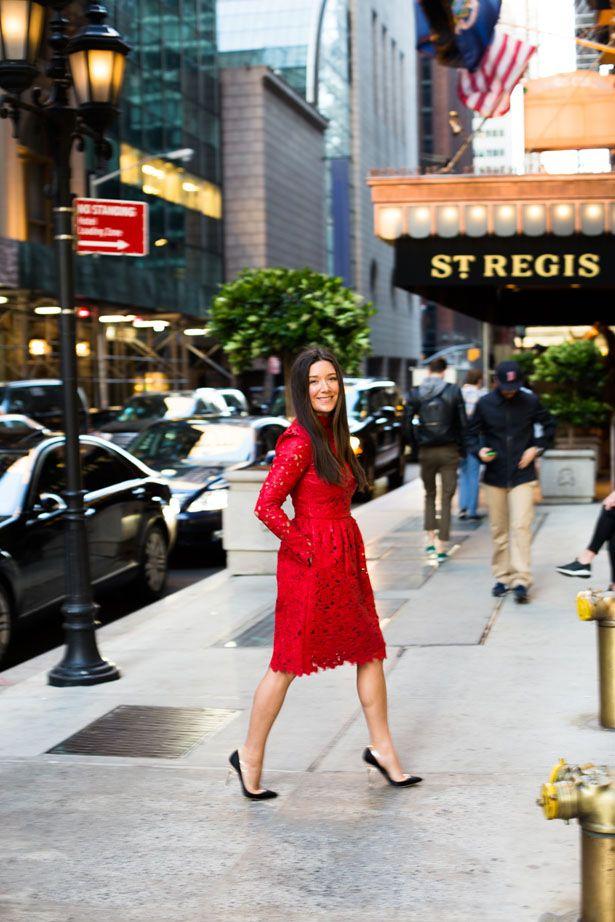 *Jamie Beck in Valentino, scarlet laser cut leather dresss