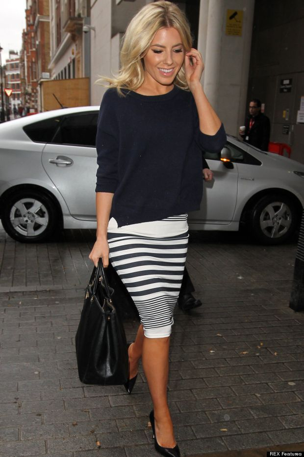 Mollie King - March 2013, London ,love this! I've gotta find me a striped skirt like this!