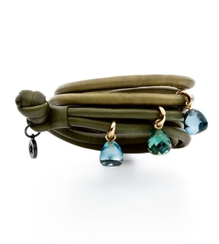 Ole Lynggaard Copenhagen Moss Green and Olive Green leather bracelets with 3 sweet drops charms in 18ct yellow gold - swiss blue topaz cabochon drops and a green quartz faceted drop - Kennedy Jewellers