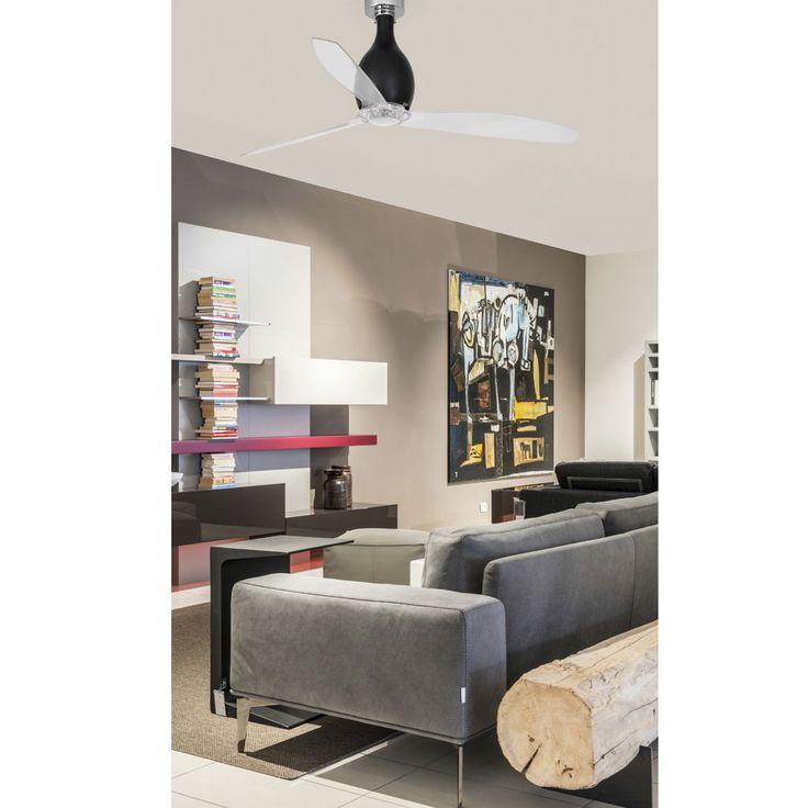 Ventilateur de plafond MINI ETERFAN, verre noir et pâles transparente Faro chez Mister Lumière