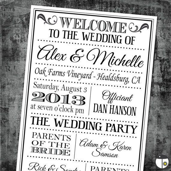 printable digital wedding program vintage playbill theme classic fonts