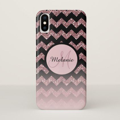 Rose Gold Pink Glitter Chevron Monogram iPhone X Case - rose style gifts diy customize special roses flowers