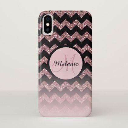 Rose Gold Pink Glitter Chevron Monogram iPhone X Case - chic gifts diy elegant gift ideas personalize