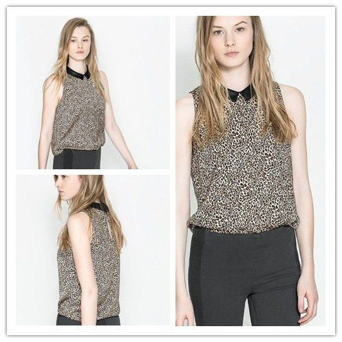 2014 Fashion Blouse Chiffon Black Turn Down Collar Clothing Woman Leopard Print Hot Sell Female Shirts Summer Sleeveless FYY104