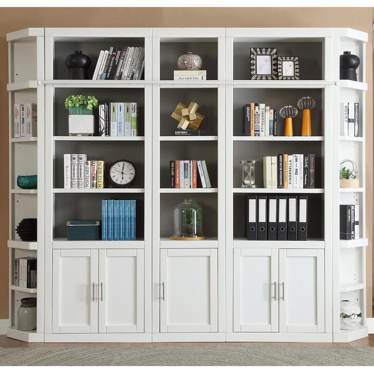6 Piece Large Library Bookcase Wall in Cottage White #dynamichome #bookcase #wall #storage #office #homeoffice #white #transitional #contemporary #organization #display #cottage #library #livingroom #greatroom #cabinet #homedecor #interiors #interiordesign