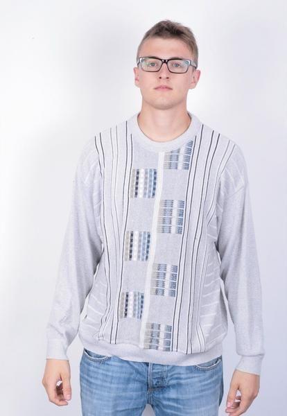 Emilio Adani Mens XXL Jumper Sweater Grey Vintage 90's - RetrospectClothes