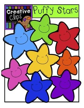 FREE! This FREE set of clips is full of colorful, cute stars! This set includes 18 stars- 9 stars with smiles and 9 stars without.