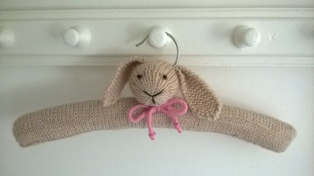 Hand knitted Bunny Clothes Hanger Christening gift £14.00