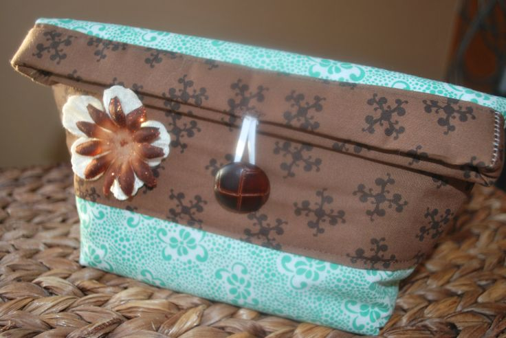 Brown and Teal Makeup Pouch by AidensLove on Etsy, $15.00