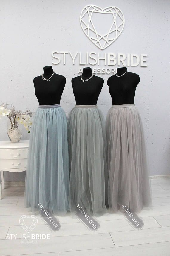 102bf93c39 Waterfall Rustic Grey Blue Green Palette Long Tulle Skirt Casual ...