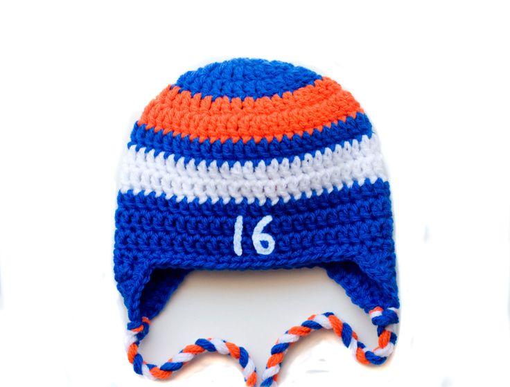 BABY HOCKEY HAT, Islander Blue Orange Hockey, Crochet Baby Hockey, Hockey Baby Knit Hat, Baby Boy Hockey, Hockey Baby Gift, Newborn Hockey by Grandmabilt on Etsy