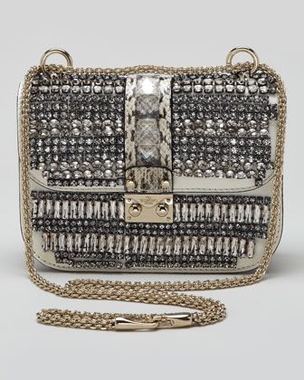 Small Glam Crystal-Covered Lock Crossbody Bag by Valentino at Neiman Marcus.