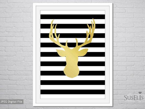 Gold Deer Head Gold Print Printable Digital Poster Art by Suselis