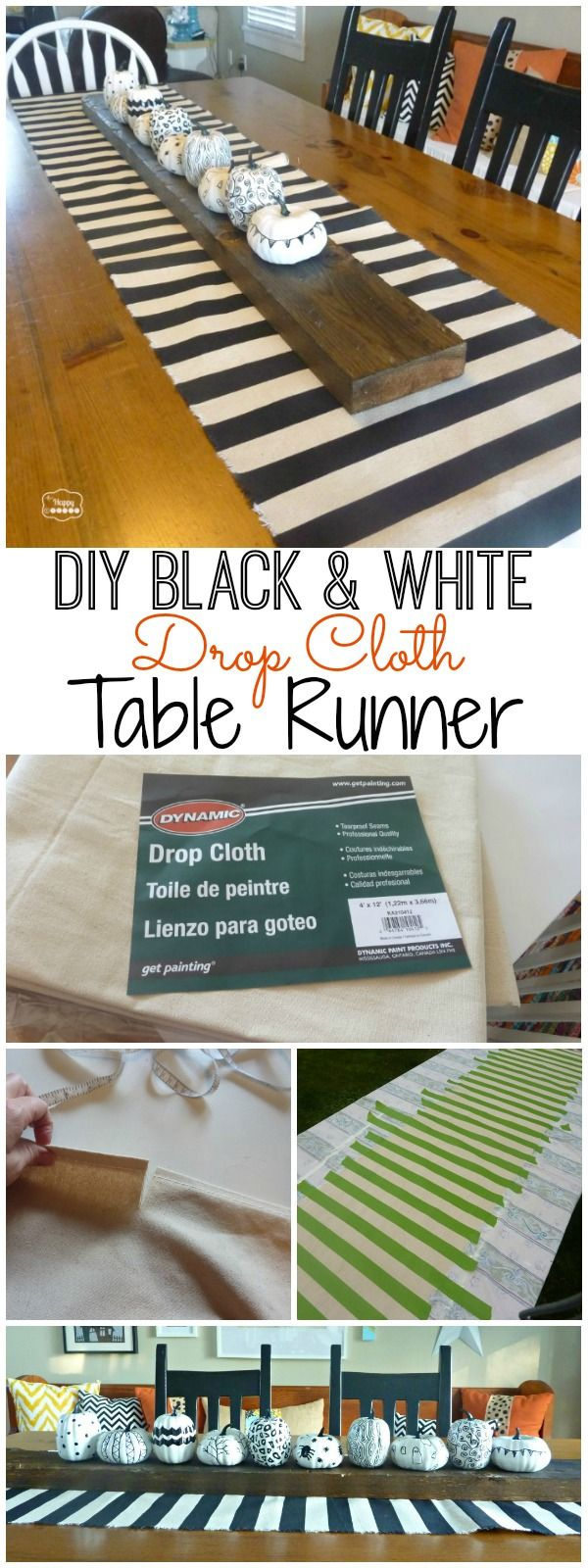 Easy DIY Black and White Dropcloth Table Runner {& 8 Fab Black & White Projects} - The Happy Housie