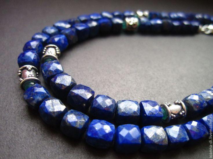 """Купить Чокер и браслет """"Аризона"""" из лазурита - тёмно-синий, чокер из лазурита, лазуритовый чокер"""