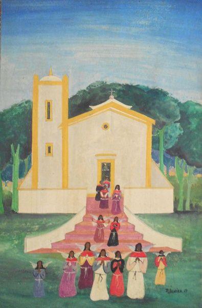 Djanira. Capela, Óleo Sobre Cartão (1967). 28x18 cm.