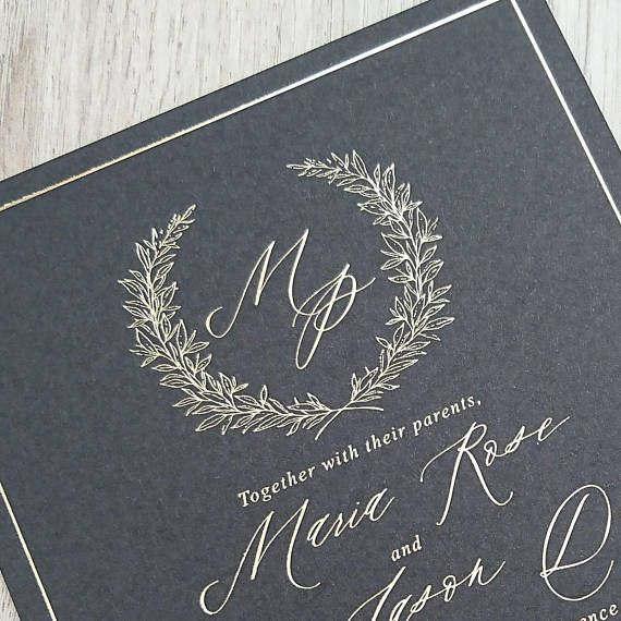 Gold Foil Wedding Invitation Gold Foil Print Gold Foil
