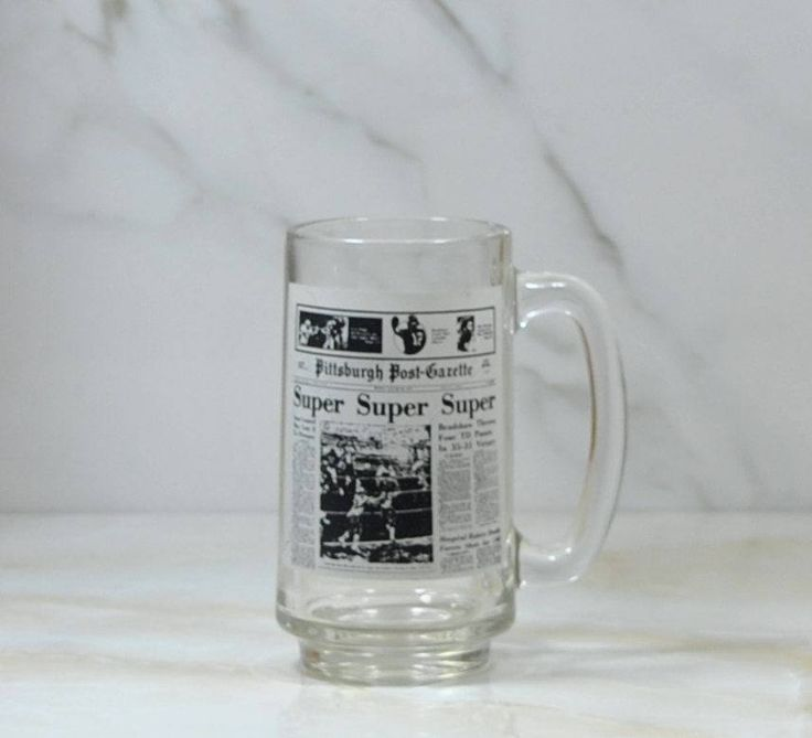 Vintage NFL, Pittsburgh Steelers, Glass Mug, Superbowl IX, 1975, Super Super Super, Superbowl Champs, Pittsburgh Post, Gazette, Football by winterparkcollect on Etsy
