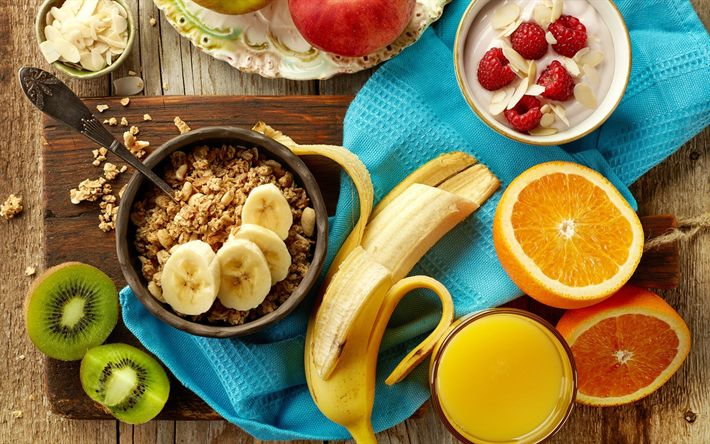 Download wallpapers Healthy food, concepts, breakfast, oatmeal, cereal, fruit, banana, orange, yogurt